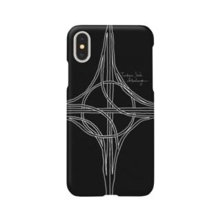 ハーフタービン型インターチェンジ(黒) Smartphone cases