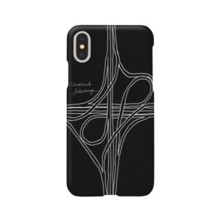 対向ループ型インターチェンジ(黒) スマートフォンケース