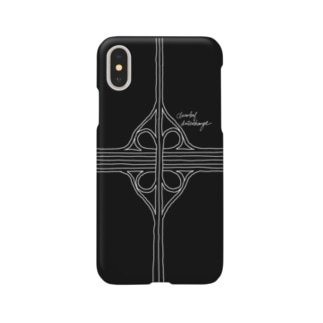 クローバー型インターチェンジ(黒) スマートフォンケース