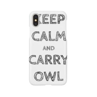 令和は静かにフクロウを据えて…keep calm and carry owl Smartphone cases