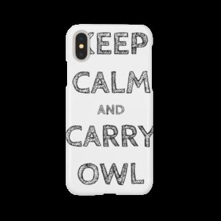 座敷ふくろうの令和は静かにフクロウを据えて…keep calm and carry owl Smartphone cases