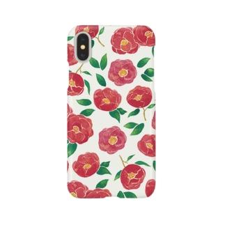 椿柄iPhoneケース Smartphone cases