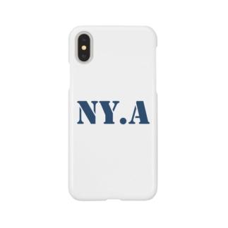 エヌワイドットエー(通称「ニャ」) ・ネイビー Smartphone cases