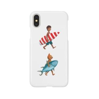 ネコと少年とサーフィン Smartphone cases