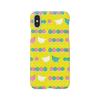 ライチョウのおさんぽ 黄 Smartphone cases