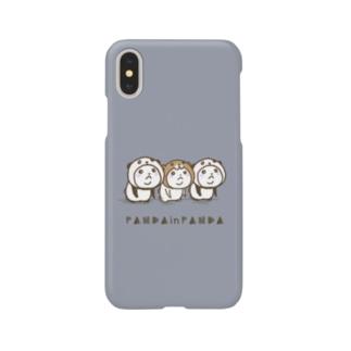 パンダinぱんだwithクマinくま(ネイビー)  Smartphone cases