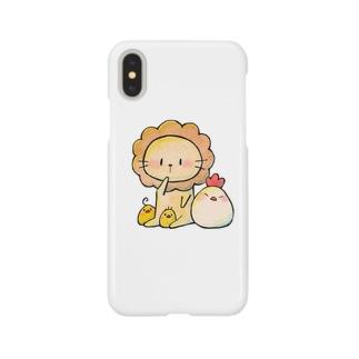 ライオンのプティとにわとり親子 Smartphone cases
