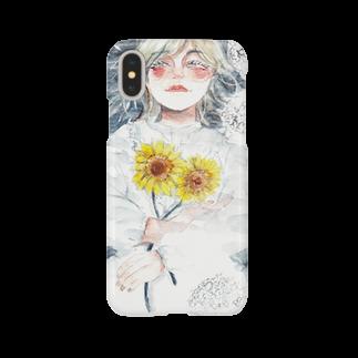 紫陽花イラストレーター オカサヤカ グッズショップの『水面に笑う』©️オカ サヤカ Smartphone cases