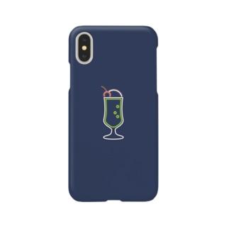 クリームソーダ(neon navy) Smartphone cases