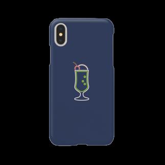 marinaのクリームソーダ(neon navy) Smartphone cases