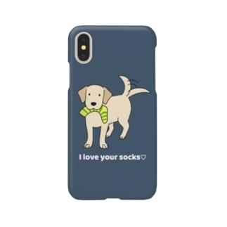 ラブソックスイエロー(ネイビー) Smartphone cases