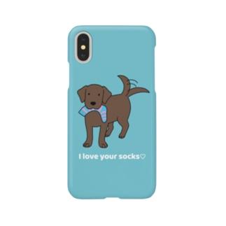 ラブソックスチョコ(ブルー) Smartphone cases