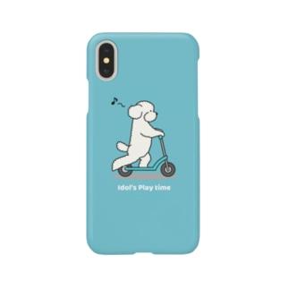 トイプー 1 白系(ブルー) Smartphone cases