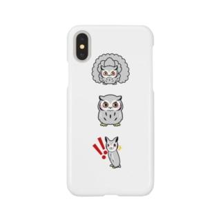 フクロウ3大変化スマホケース Smartphone cases