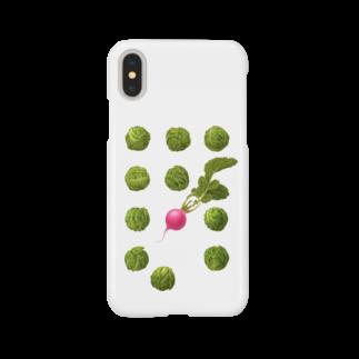 オハデザインの芽キャベツとラディッシュ Smartphone cases