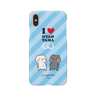 iPhoneケース『タマくらべ』(ブルー)しらたまとタマクロー Smartphone cases