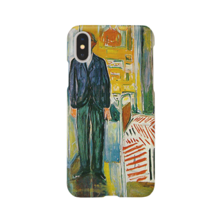 Art Baseのムンク / 1943 / Self-portrait. Between the clock and the bed / Edvard Munch Smartphone cases