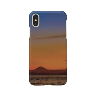 日暮れに浮かぶ富士 Smartphone cases