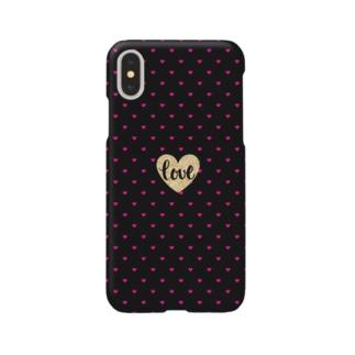 ハート柄(黒×ピンク) Smartphone cases