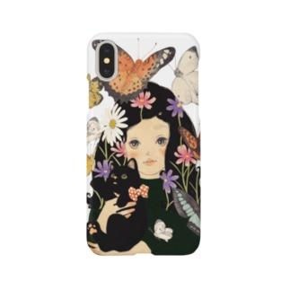 黒猫、蝶々 Smartphone cases