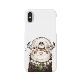 チャリティグッズ*先祖の頭骨を頭に乗せたフェレットちゃん Smartphone cases