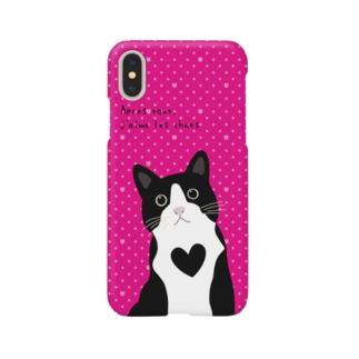 白黒にゃんこ(ピンクドット) Smartphone cases