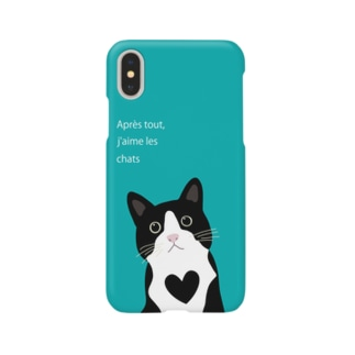 白黒にゃんこ(グリーン) Smartphone cases