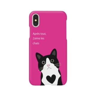 白黒にゃんこ(ピンク) Smartphone cases