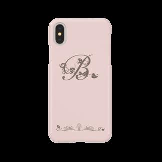 sonoteniのアルファベット イニシャル ボタニカル ピンク B #130 Smartphone cases