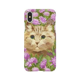 花々にうずもれたネコ Smartphone cases