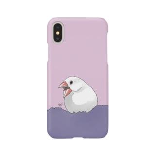 calcalのあくび白文鳥 Smartphone cases