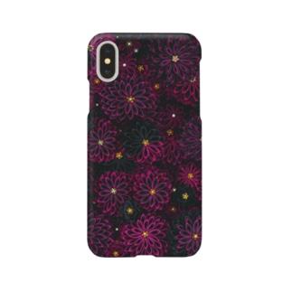 つまみ細工紋様 蘇芳×墨色 Smartphone cases