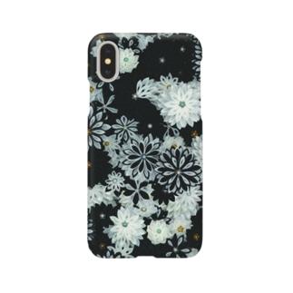 つまみ細工紋様 月白×墨色 Smartphone cases