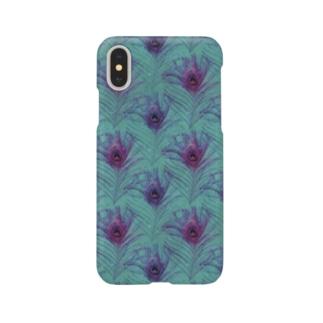 孔雀の羽スマートフォンケース ラメ クジャク 翼 ヴィンテージ グリーン パープル  Smartphone cases