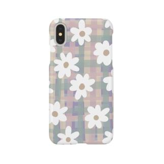 pastel check flower*white* Smartphone cases