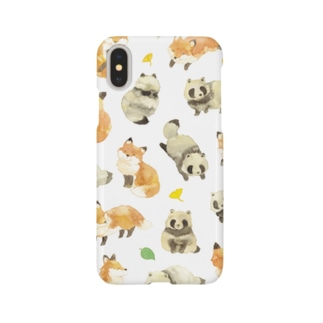 たぬきときつね柄iPhoneケース Smartphone cases