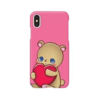 ハート抱っこくま (ピンク) Smartphone cases