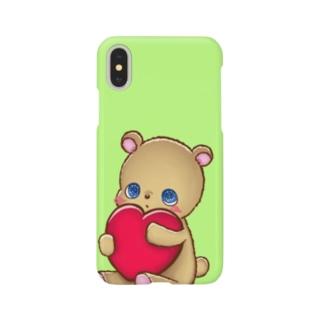 ハート抱っこくま (ライトグリーン) Smartphone cases