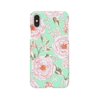 バラとライラック Rose and Lila Flowers Smartphone Case