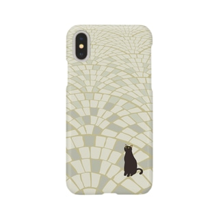 黒にゃー(石畳) スマートフォンケース