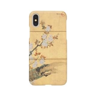 酒井抱一筆 桜図屏風(左隻) iPhoneケース スマートフォンケース