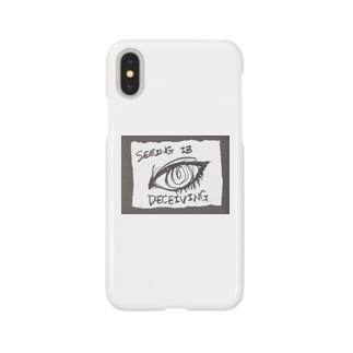 偽諺~参~「百聞は一見に如く」(黒縁) Smartphone cases
