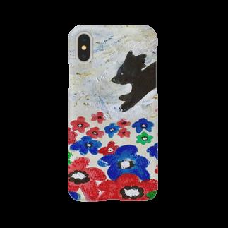 太陽drops -立華 圭グッズショップ-の花とくろいぬ Smartphone cases
