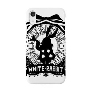 カレッジ風★不思議の国のアリス★ホワイトラビット‐黒 Smartphone cases