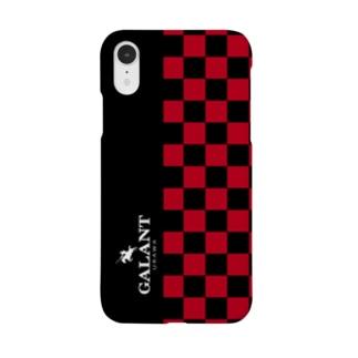 ブロックチェック type2 赤×黒 Smartphone cases