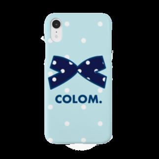 コロ。COLOM.犬いぬdogリボングッズ.のコロ。COLOM.リボン.🎀りぼんドット!シンプル!かわいいりぼんグッズ!ぶるー Smartphone cases