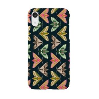 スズメガ  [黒] Smartphone cases