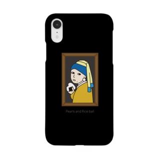 真珠の耳飾りとおむすびブラック Smartphone cases