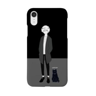 きりにゃんスマホケース / black & gray Smartphone cases