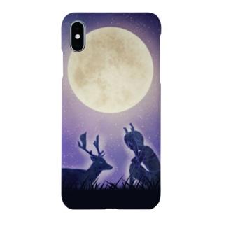 月明かりの鹿 Smartphone cases